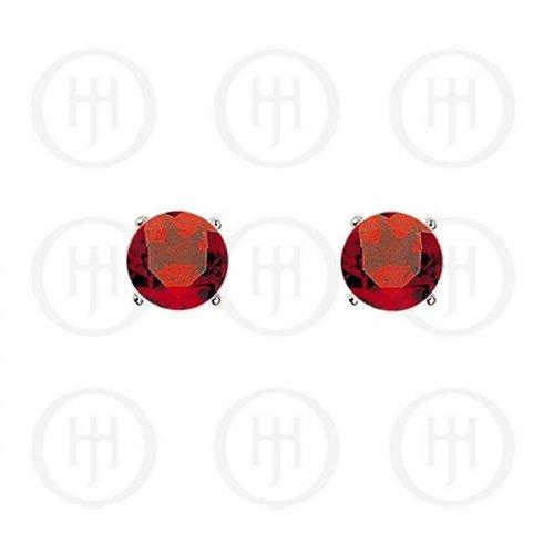 Silver Round CZ Stud Birthstone Earrings (ST-1024-JUL)