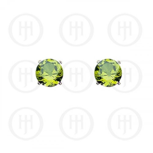 Silver Round CZ Stud Birthstone Earrings (ST-1024-AUG)
