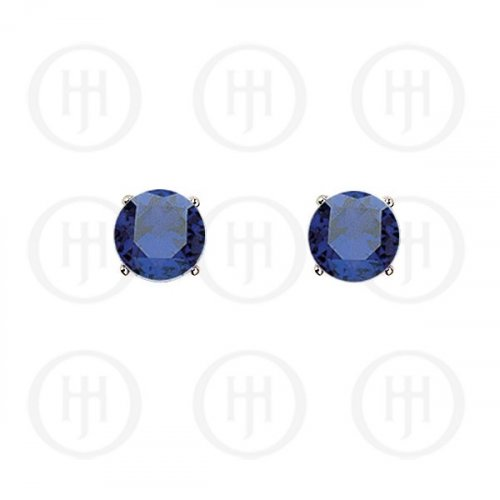 Silver Round CZ Stud Birthstone Earrings (ST-1024-SEP)