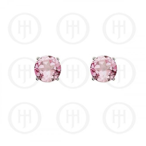 Silver Round CZ Stud Birthstone Earrings (ST-1024-OCT)