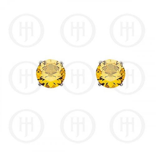 Silver Round CZ Stud Birthstone Earrings (ST-1024-NOV)