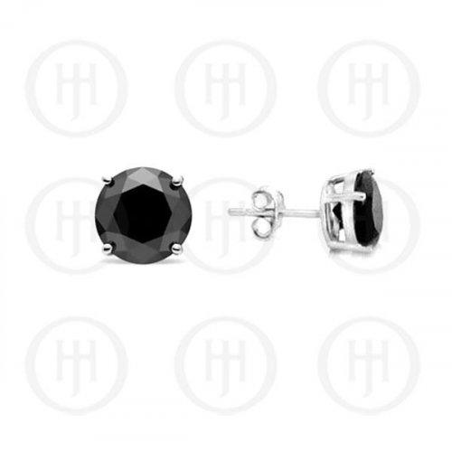 Silver Round Black CZ Stud Earrings 7mm (ST-1017-7)