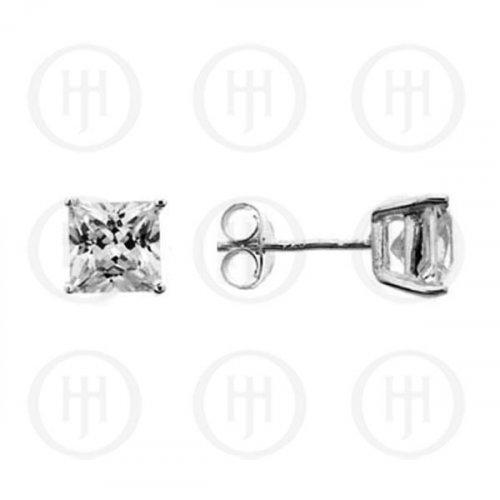 Silver Square Princess Cut CZ Stud Earrings 9 x9 (ST-1016-9)