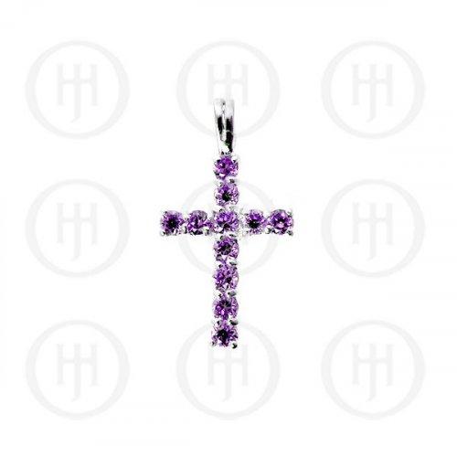 Silver Cubic Zirconia Religious Cross Pendant CR-1019-A