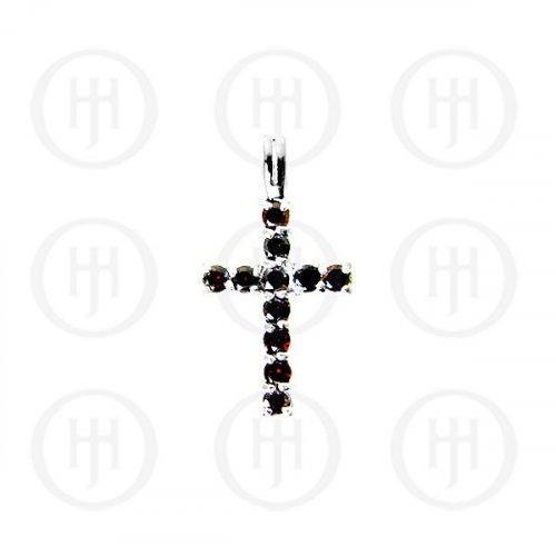 Silver Cubic Zirconia Religious Cross Pendant (CR-1019-G)