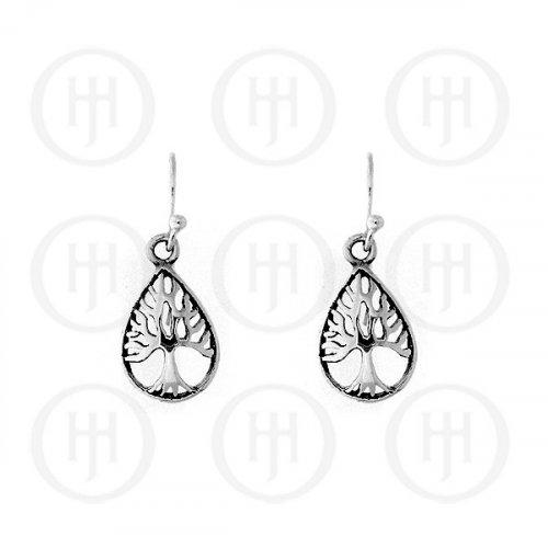 Plain Sterling Sillver Tree of Life Teardrop Dangle Earrings (ER-1062)