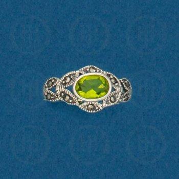 Silver Marcasite Ring (Peridot) R-M-1044-P