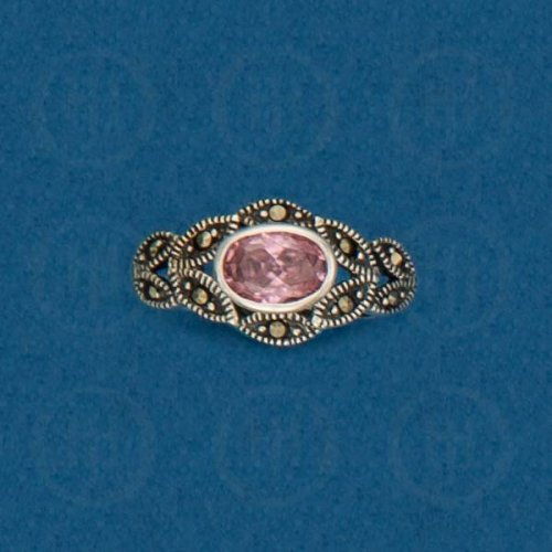 Silver Marcasite Ring (Pink Cubic Zirconia) R-M-1044-PCZ