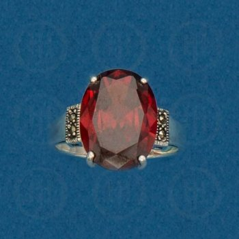 Silver Marcasite Ring (Garnet) R-M-1045-G