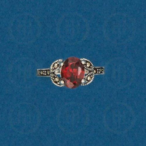 Silver Marcasite Ring (Garnet) R-M-1046-G