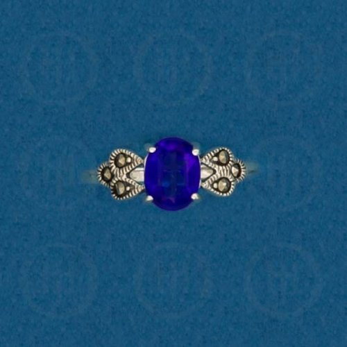 Silver Marcasite Ring (Iolite) R-M-1046-I