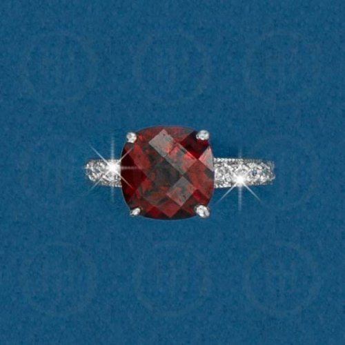 Silver Rhodium Plated Colourful CZ Ring R-1072-G