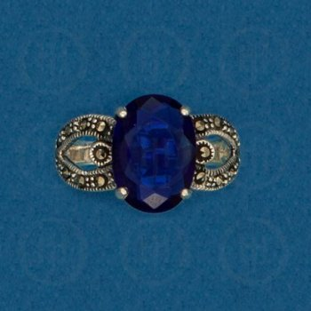 Silver Marcasite Ring (Indigo) R-M-1047-I