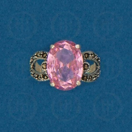 Silver Marcasite Ring (Pink Cubic Zirconia) R-M-1047-PCZ