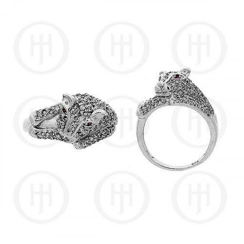 Silver Rhodium Plated Jaguar CZ Ring R-1105