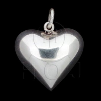 Silver Puffed Heart Pendant 25mm (P-1002-25)