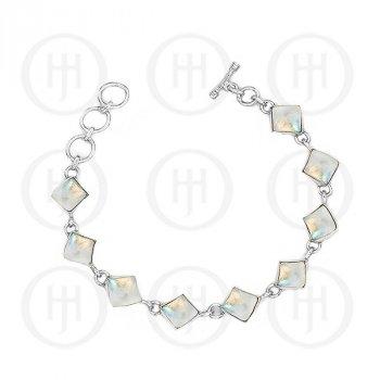 Silver Moonstone Gemstone Bracelet (BR-1021-MS)