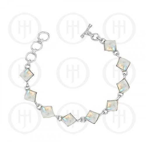 Silver Moonstone Gemstone Bracelet (BR-1021-MS)