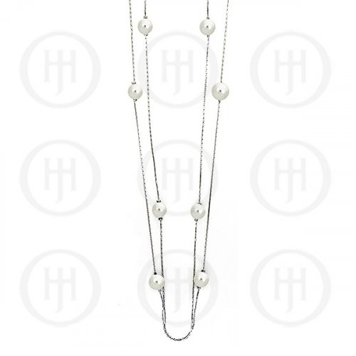 Silver Rhodium Plated Necklace w/Pearls (N-1009)