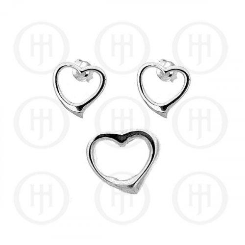 Silver Plain Dangle Earrings Heart Pendant Set (PS-1005)