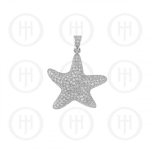 Sterling Silver Micro Pave CZ Puffed Starfish Pendant (P-1172)