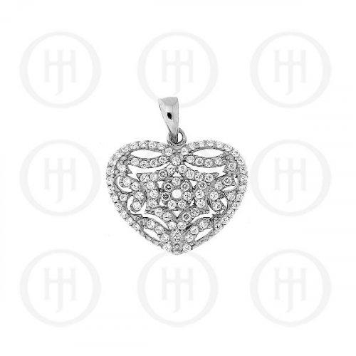 Silver CZ Heart Pendant (P-1170)