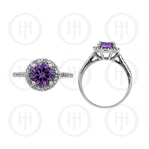 Silver Rhodium Plated Colourful CZ Ring R-1052-A