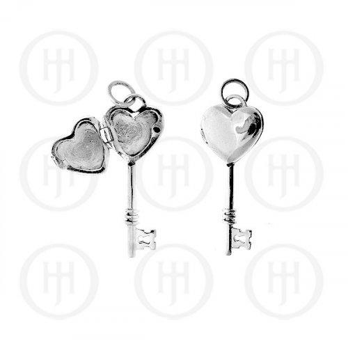 Silver Plain Key Heart Locket 30mm x 13mm (LOC-PH-1056)