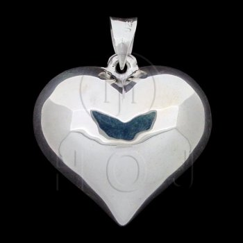 Silver Puffed Heart Pendant 30mm (P-1002-30)