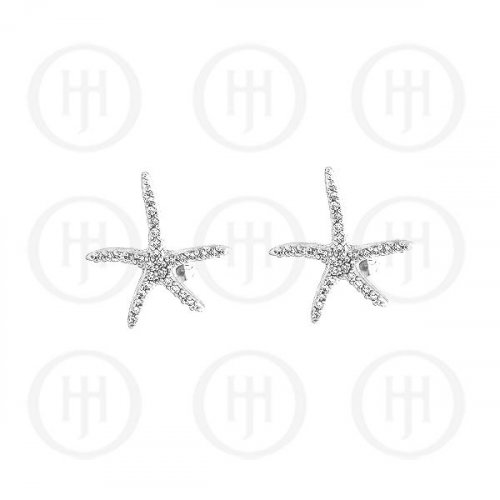 Silver Assorted CZ Starfish Stud Earrings (ST-1032B)