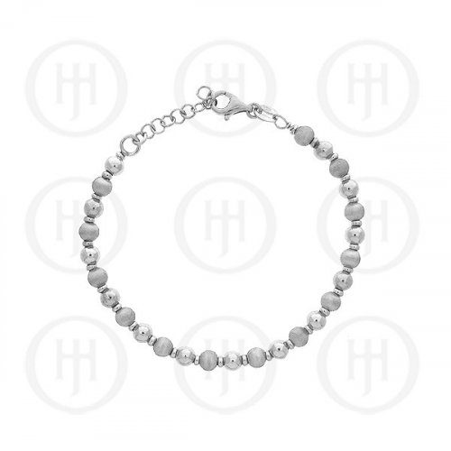 Silver Satin Finish Rhodium Plated Bracelet (BR-1056-S)