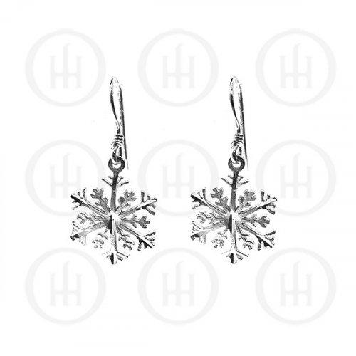 Silver Plain Dangle D/C Snow Flake Earrings (ED11078)