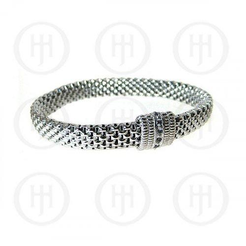 Sterling Silver Fancy Italian Rhodium Plated Stretch Bracelet (BR-1089)