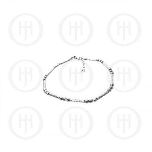 Sterling Silver Fancy Italian Rhodium Plated Bracelet (BR-1098)