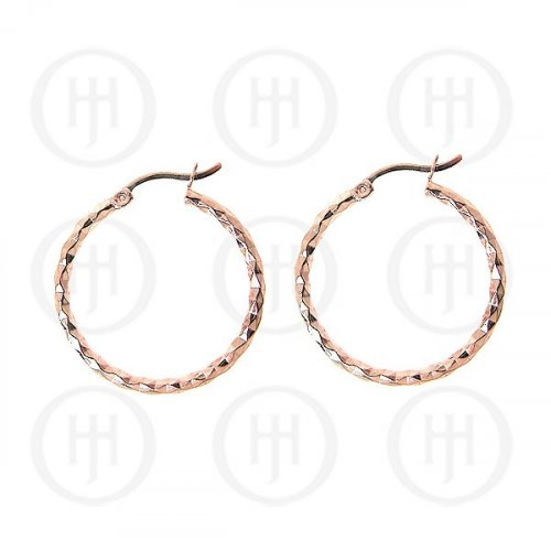 Sterling Silver Rose Colour Plated D/C Hoop (HP-1040-30-R)