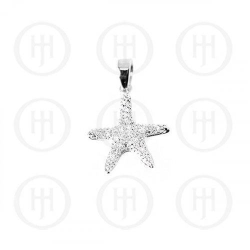 Silver Assorted CZ Starfish Pendant (P-1094)