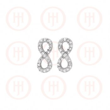 Silver Assorted CZ Infinity Stud Earrings (ST-1060)