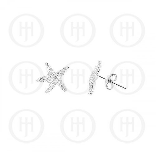 Silver Assorted CZ Starfish Stud Earrings (ST-1032)