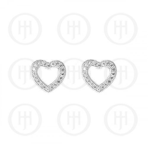 Sterling Silver Rhodium Plated Assorted CZ Cutout Heart Stud Earrings (ST-1069)