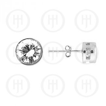 Silver CZ Stud Earrings Round Bezel 8mm (ST-1015-8)