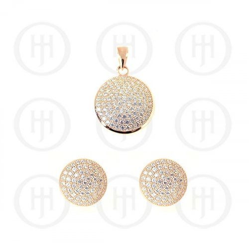 Sterling Silver Rose Colour Plated Assorted CZ Circle Pendant and Stud Earrings Set (PS-1041-R)