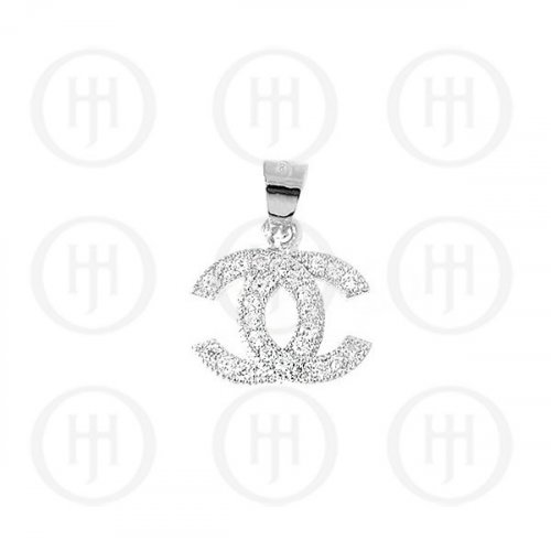 Sterling Silver Assorted CZ Chanel Inspired Pendant (P-1038)