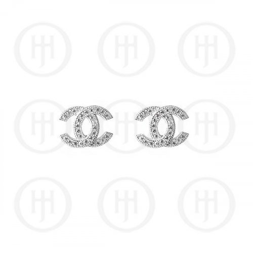 Sterling Silver Assorted CZ Chanel Inspired Stud Earrings (ST-1070)