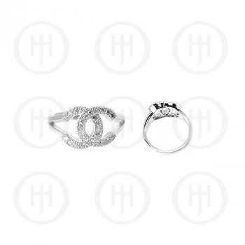 Silver Assorted CZ Chanel Inspired Ring Rhodium Plated (R-1162)