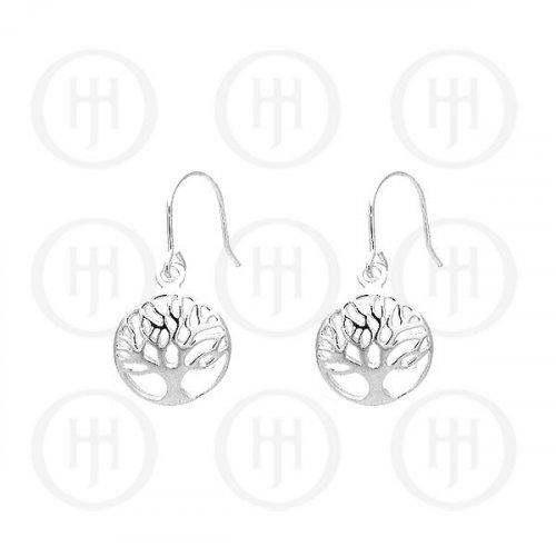 Plain Sterling Silver Tree of Life Circle Dangle Earrings 12mm (ER-1092)