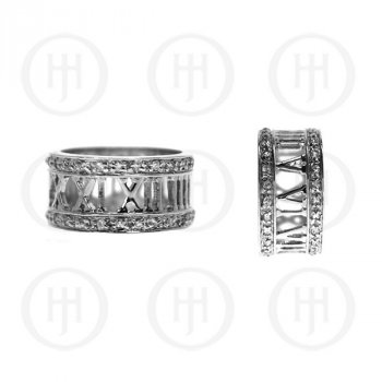 Silver Rhodium Plated Assorted Tiffany Inspired Numerical CZ Ring (R-1140-N)
