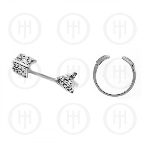Silver Rhodium Plated CZ Arrow Ring (R-1169)