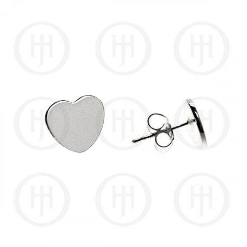 Sterling Silver Plain Heart Stud Earrings (ST-1078)
