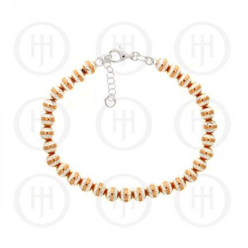 Silver Rose Colour Plated Diamond Cut Ball Bracelet (BR-1138)