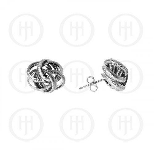 Silver Rhodium Plated Satin Finish Stud Earrings (ST-1076)